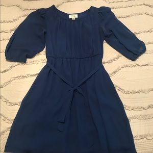 Royal Blue Dress with Three Quarter Sleeves
